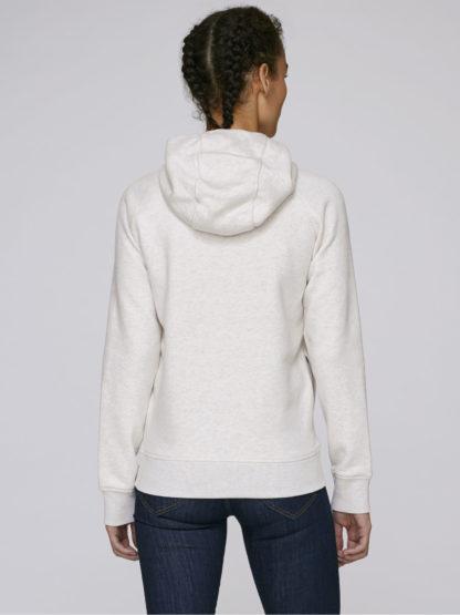 Sweat à capuche femme coton bio - couleur blanc chiné - dos