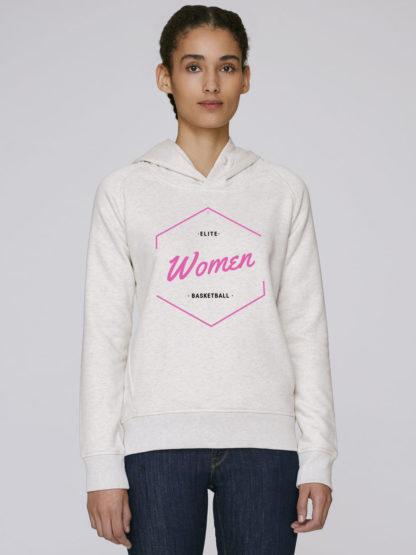 Sweat à capuche femme Elite Women Basketball coton bio couleur blanc chiné