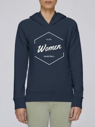 Sweat à capuche femme Elite Women Basketball coton bio couleur bleu marine