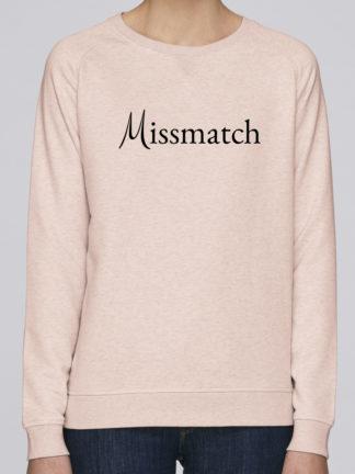 Sweat shirt femme Missmatch col rond coton bio - Rose - Face