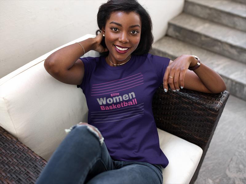 Belle femme noire portant un tee shirt elite women basketball de la marque Missmatch